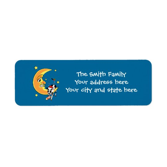 Christmas cow slumped over the moon return address label