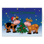 Christmas Cows Happy Moo Year Stationery Note Card