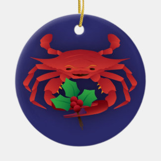 Christmas Crab with Holly Christmas Ornament