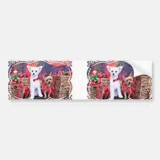 Christmas - Crestie Mojo - Yorkie Millie Car Bumper Sticker