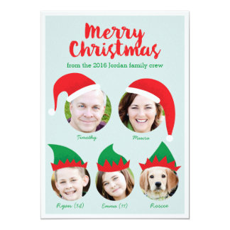 Christmas Crew Family of Five Photo Holiday Card 13 Cm X 18 Cm Invitation Card