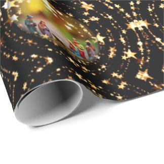 Christmas Crib Nativity Scene Baubles Star Pattern Wrapping Paper