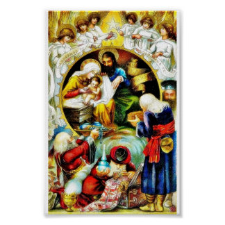 Christmas crib with angels around poster