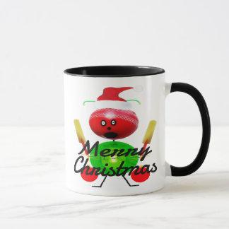 Christmas Cricket Player Cartoon Mug