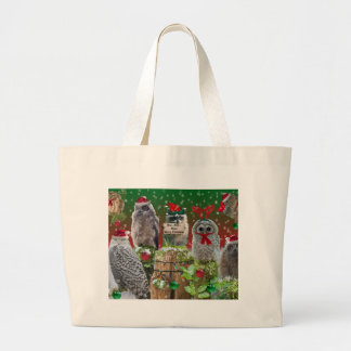 Christmas Critters Owls and Raccoon Tote Bag