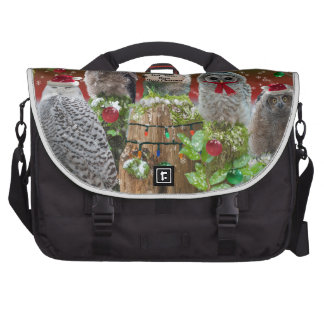 Christmas Critters Owls and Raccoon Commuter Bags