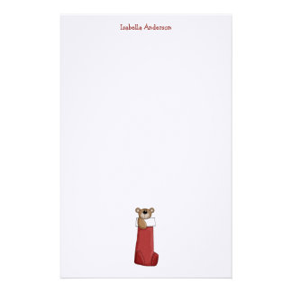 Christmas Critters · Teddy Bear Stocking Stationery Design