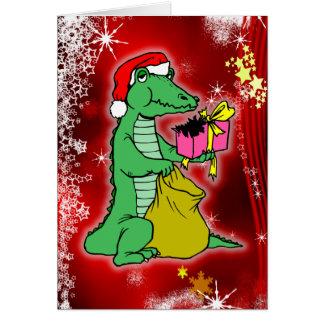 Christmas Crocodile Greeting Card