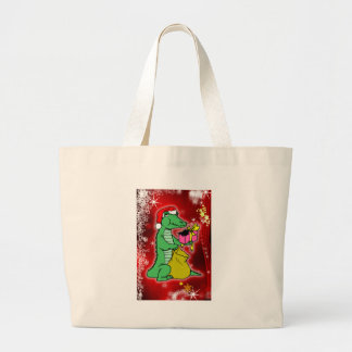 Christmas Crocodile Large Tote Bag