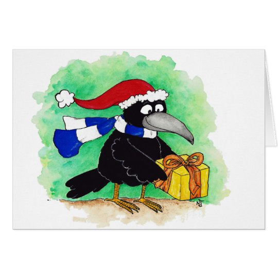CHRISTMAS CROW greeting card by Nicole Janes