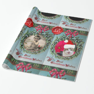 CHRISTMAS CROWN,RED RIBBON PHOTO TEMPLATE MONOGRAM WRAPPING PAPER