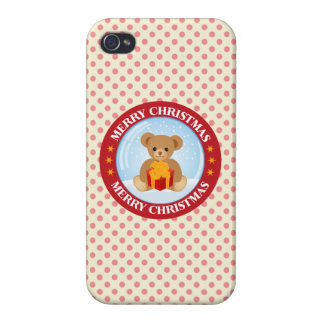 Christmas Crystal Ball Cute Bear Holding Giftbox Covers For iPhone 4