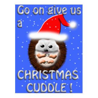 christmas cuddle hedgehog postcard