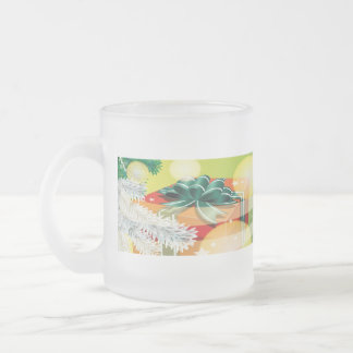 Christmas cup with festive motive frosted glass mug
