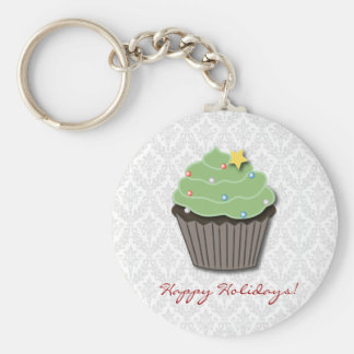 Christmas Cupcake Damask Keychain