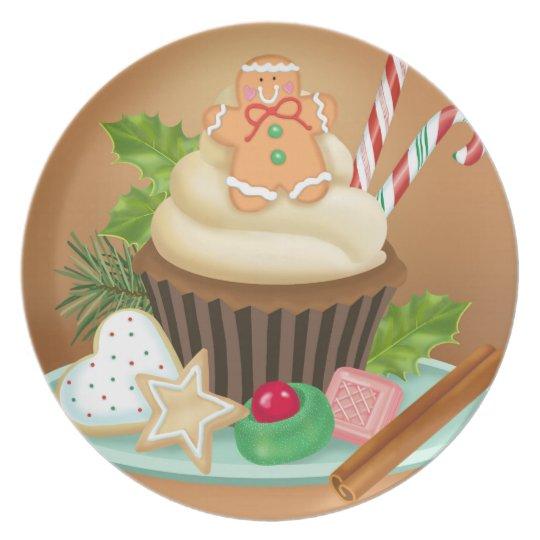 Christmas Cupcake Melamine Plate