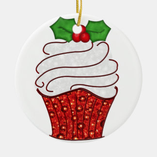 Christmas Cupcake Ornament in Red