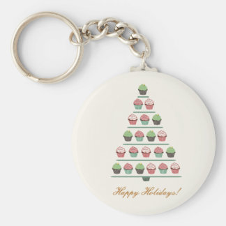 Christmas Cupcake Tree Stand Keychain