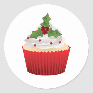 Christmas cupcake with holly Sticker