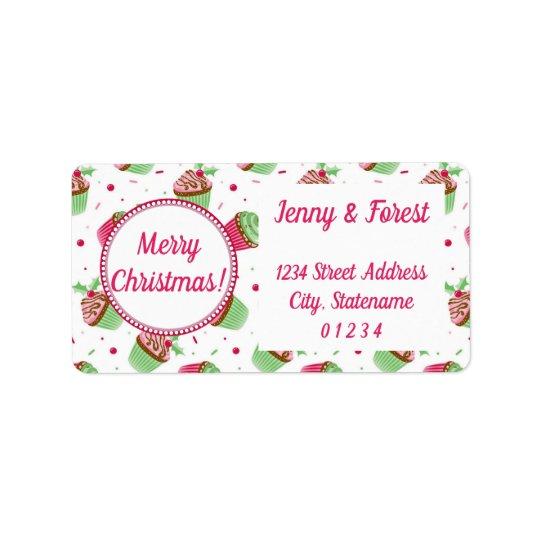 Christmas cupcakes design with Christmas greetings Label