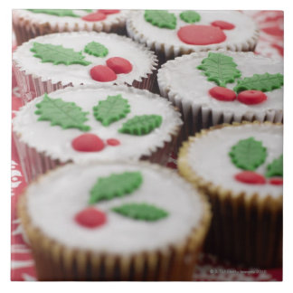 Christmas cupcakes large square tile