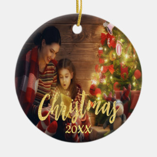 Christmas custom family photo with year gold christmas ornament