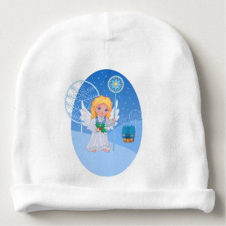 Christmas cute cartoon angel with blue star staff baby beanie