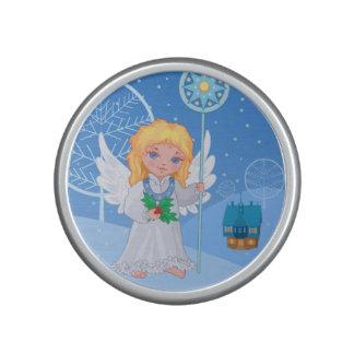 Christmas cute cartoon angel with blue star staff speaker