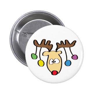 Christmas Cute Cartoon Red Nose Reindeer 6 Cm Round Badge