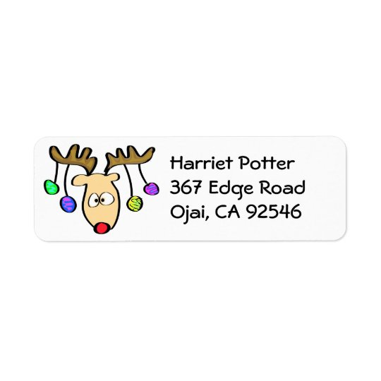 Christmas Cute Cartoon Red Nose Reindeer Return Address Label