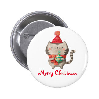 Christmas Cute Cat 6 Cm Round Badge