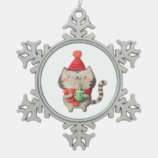 Christmas Cute Cat Snowflake Pewter Christmas Ornament