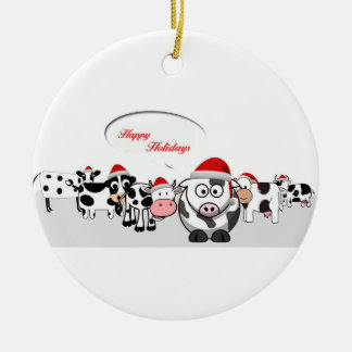 Christmas Cute Cows Happy Holidays Christmas Ornament