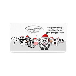 Christmas Cute Cows Happy Holidays Label
