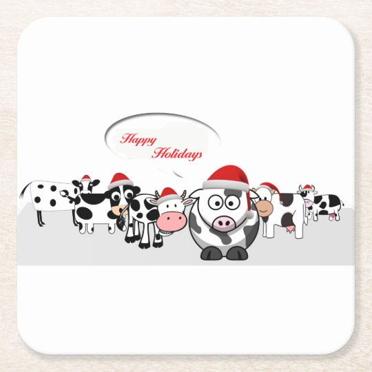 Christmas Cute Cows Happy Holidays Square Paper Coaster