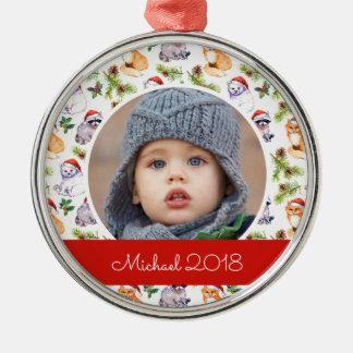 Christmas | Cute Forest Animals Pattern Christmas Ornament