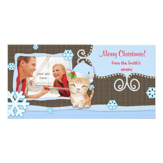 Christmas Cute Funny Kitten Cat Photo Card