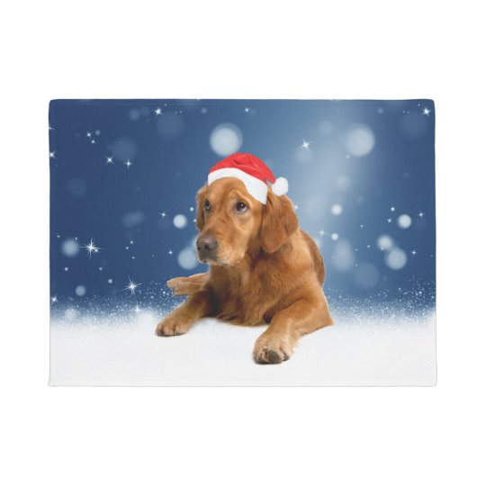 Christmas Cute Golden Retriever Dog Santa Hat Snow