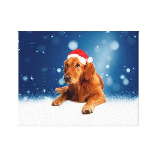Christmas Cute Golden Retriever Dog Santa Hat Snow Gallery Wrap Canvas