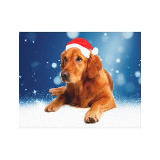 Christmas Cute Golden Retriever Dog Santa Hat Snow Gallery Wrapped Canvas