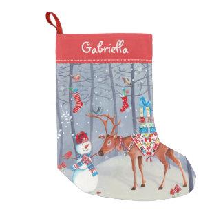 Christmas Cute Reindeer Snow   Cristmas Stocking