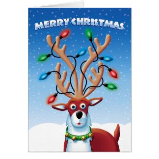 Christmas Cute Reindeer with Lights on Antlers Greeting Card