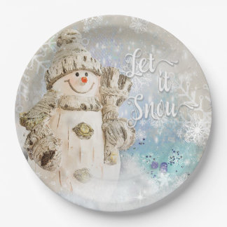 Christmas Cute Snowman with Snowflakes 9 Inch Paper Plate