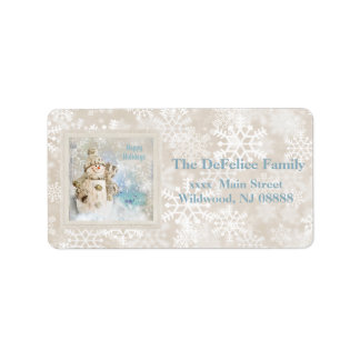 Christmas Cute Snowman with Snowflakes Address Label