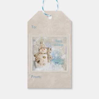 Christmas Cute Snowman with Snowflakes Gift Tags