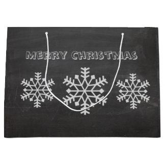 Christmas cute trendy snowflake winter chalkboard large gift bag