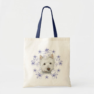 Christmas Cute Westie Dog Art and Snow flake Canvas Bags