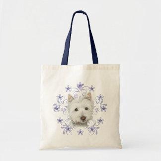 Christmas Cute Westie Dog Art and Snow flake Budget Tote Bag