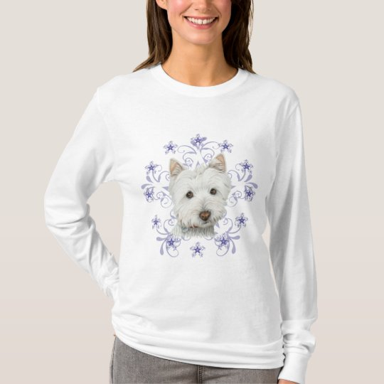 Christmas Cute Westie Dog Art and Snow flake