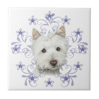 Christmas Cute Westie Dog Art and Snow flake Ceramic Tiles